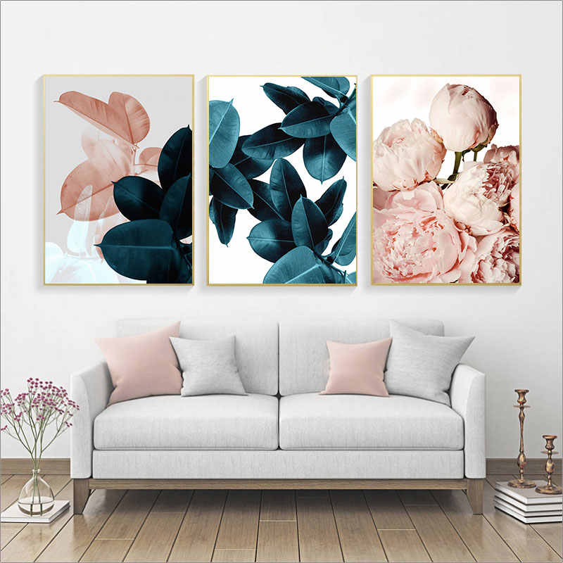 Modern abstract wall art painting Pink Flowers green plants poster print canvas painting wall pictures for home decoration