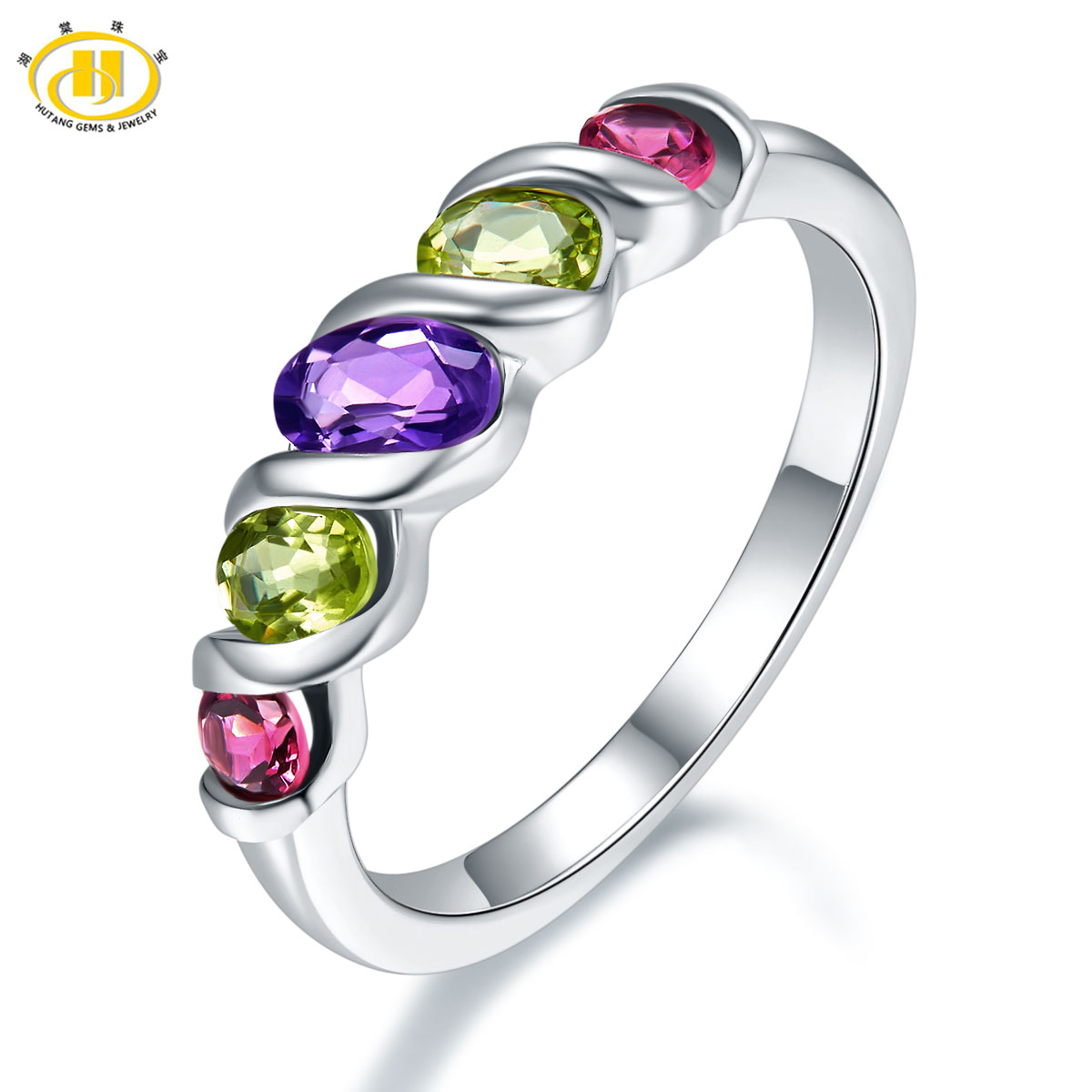 Hutang Natural Multi-color Gemstone Ring Solid 925 Sterling Silver Rings Amethyst Peridot Rhodolite Fine Jewelry For Women Gift покрывало arloni самотканное 225 х 270 см arlткп 682 3