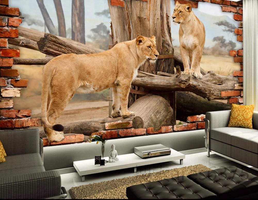 Customize 3D Wallpaper Animal lion Wallpapers for Living room Wallpaper 3D Stereoscopic 3 D TV Background Wall paper wallpaper for walls 3 d modern trdimensional geometry 4d tv background wall paper roll silver gray wallpapers for living room
