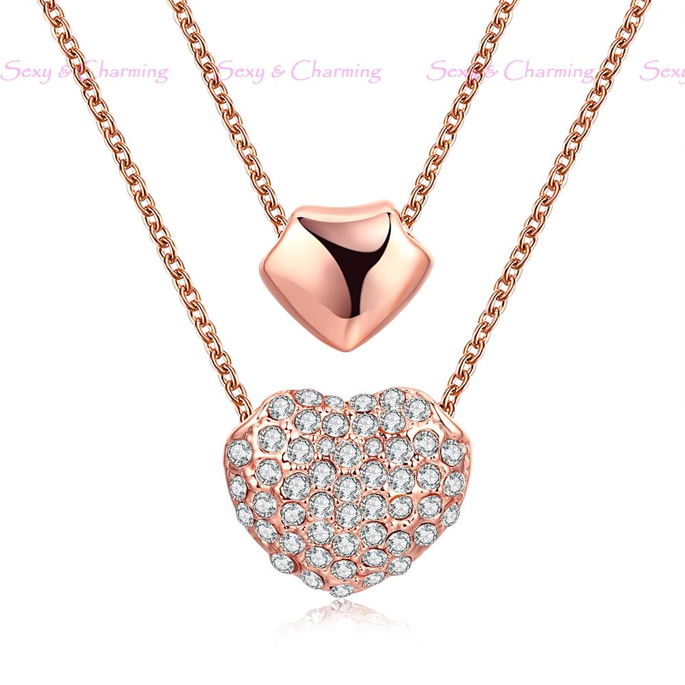 New Fashion Women/'s Jewelry Silver Jewellery Peach Heart Zircon Pendant Necklace