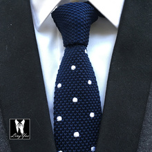 HOT Sale Knitting Tie High Quality Woven Knitted Necktie Navy Blue with White Dots