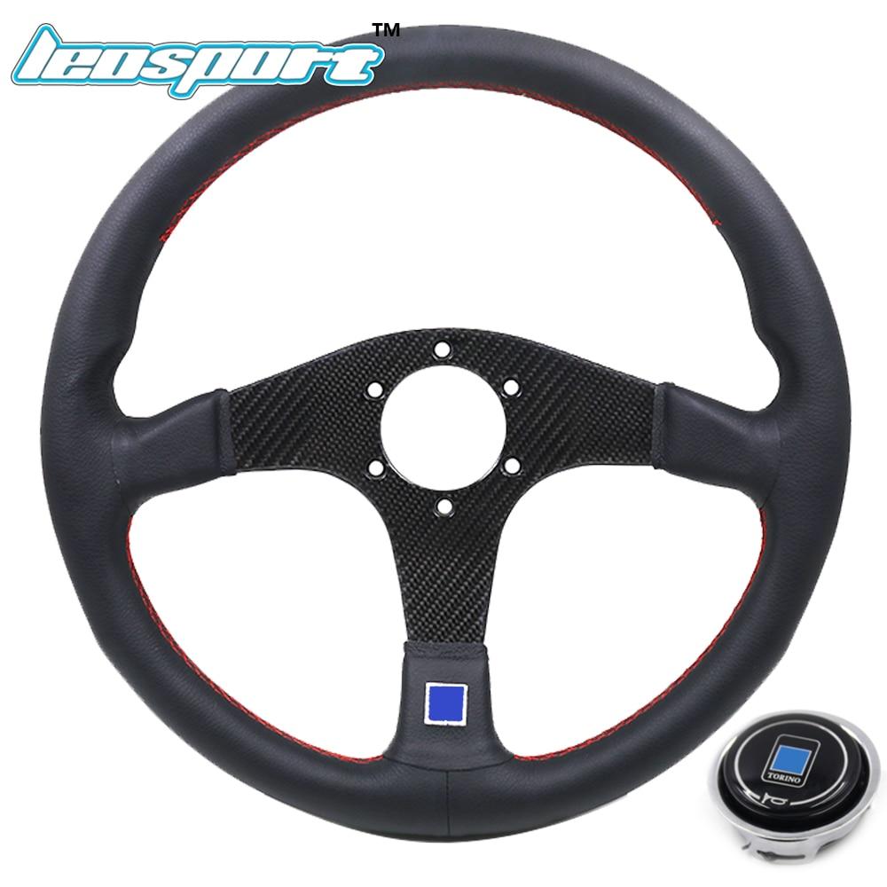 Leosport-New 14 (350mm) ND Racing Steering Wheel leather and carbon fiber frame red line game Steering Wheel leosport prestashop theme