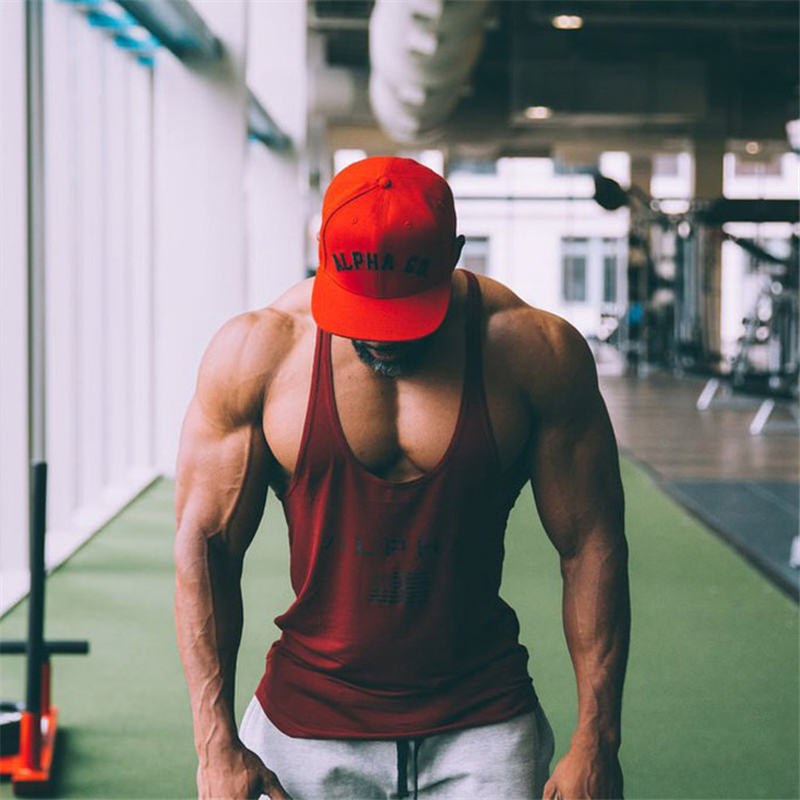 New ALPHA Brand Fitness Clothing Bodybuilding Tank Top Men Gyms Stringer Singlet Cotton Sleeveless shirt Workout Man Undershirt in Tank Tops from Men 39 s Clothing
