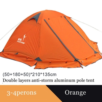Flytop camping tent outdoor 2 people or 3perons double layer aluminum pole anti snow outdoor family tent with snow skirt 6