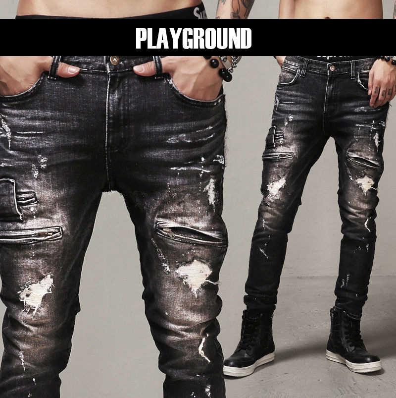 0cc865520987db Mens Skinny Jeans Paris Runway Distressed Slim Elastic Jeans Denim Biker  Ripped Jeans Hip Hop Pants