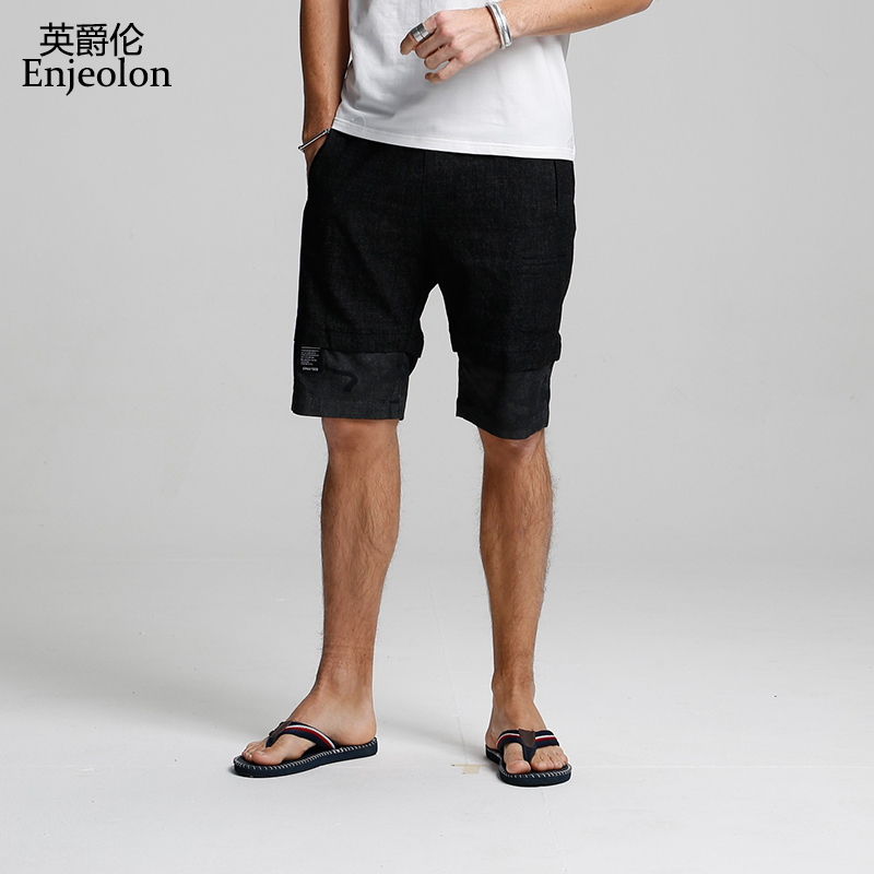 Enjeolon 2018 Summer Casual   jeans   Shorts Men solid pants shorts male Available Knee length High Quality casual pants   jeans   K6421