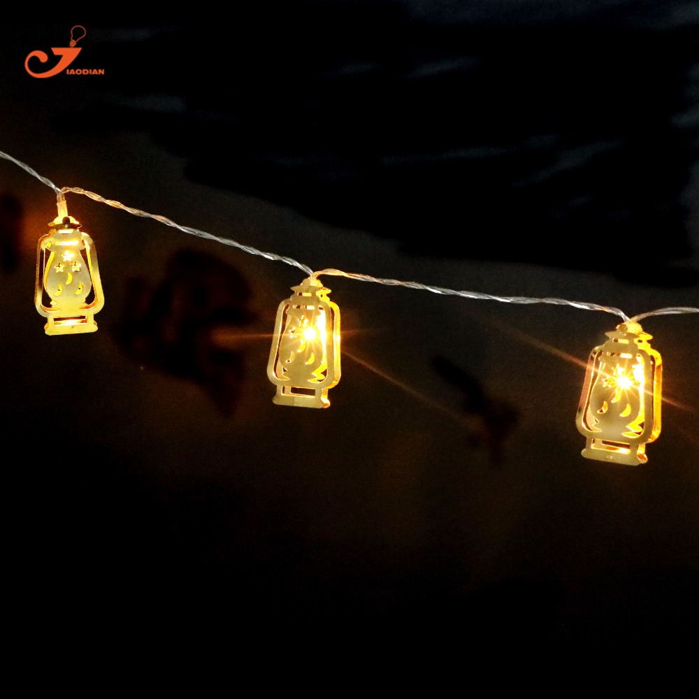 Ramadan Lights Gold Metal Lantern Lighting Lamp Led String Battery Fairy Christmas Light Home Decoration In From