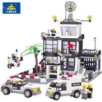 KAZI 631Pcs City Police Station Building Blocks Action Figure Bricks Brinquedos 3D Construction Toys For Children