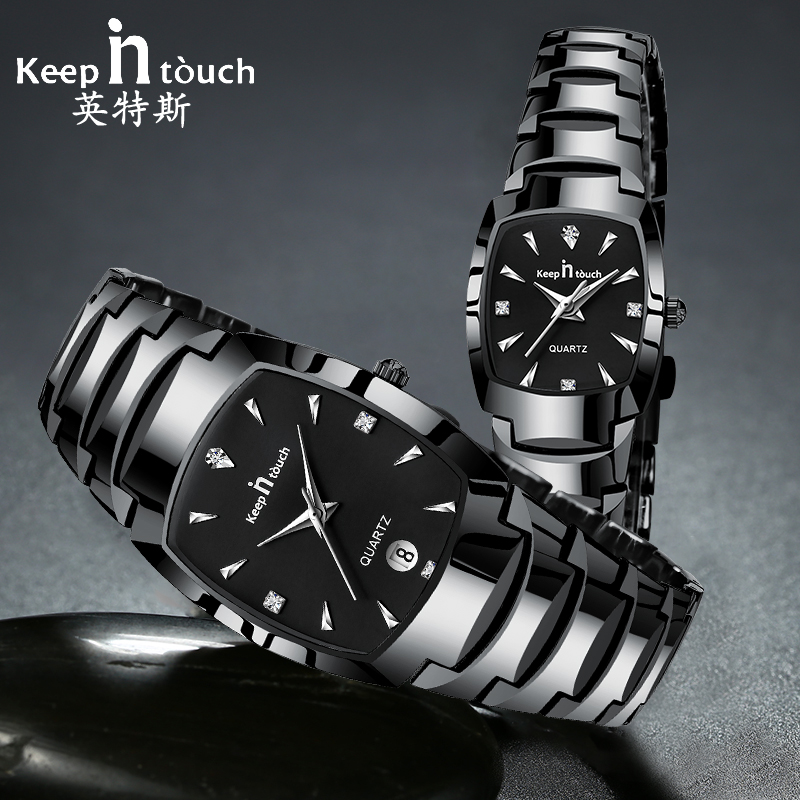 KEEP IN TOUCH Square Watches for Women Mens Couples Stainless Steel Quartz Lovers Wrist Watch Waterproof Bracelet Female Relojes muhsein hot sellingnew lovers quartz watches stainless steel watch business women dress watches for couples free shipping