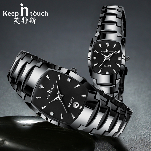 לשמור על קשר זוג שעון יהלומי ectang קוורץ חובבי שעונים עמיד למים צמיד מתנת חתונה שעוני יד לנשים Mens 2019