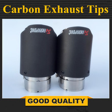 Inlet 2.5 Outlet 3.5 Stainless car matte Carbon Fiber Car Exhaust Tip tailpipe car-styling exhaust car muffler tip Akrapovic evil energy universal car carbon fiber exhaust tip 51mm 2 inlet 76mm 3 outlet muffler tip exhaust tailpipe tip rear tip