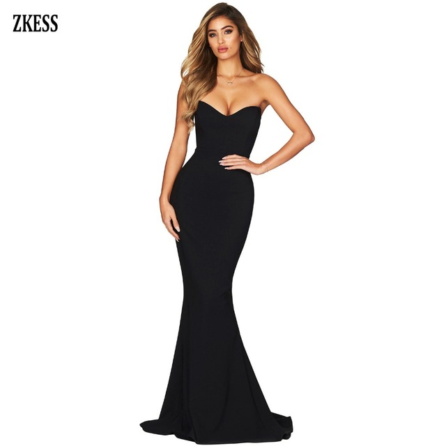 9f29ac4347e Zkess Women Black Strapless Sweetheart Neckline Mermaid Gown Dress Sexy  Sleeveless Backless Draped Club Party Maxi