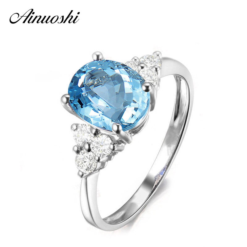 AINUOSHI 2 Carat Oval Cut Natural Blue Topaz Ring Pure 925 Sterling Silver Inlaid Diamond Ring