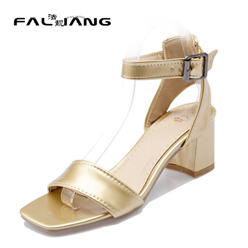 ФОТО  Rome Ladies Fashion Woman Block Mid Heel Sandals Female OL Ladies Office Party Dress Sandals Shoes Gold Silver