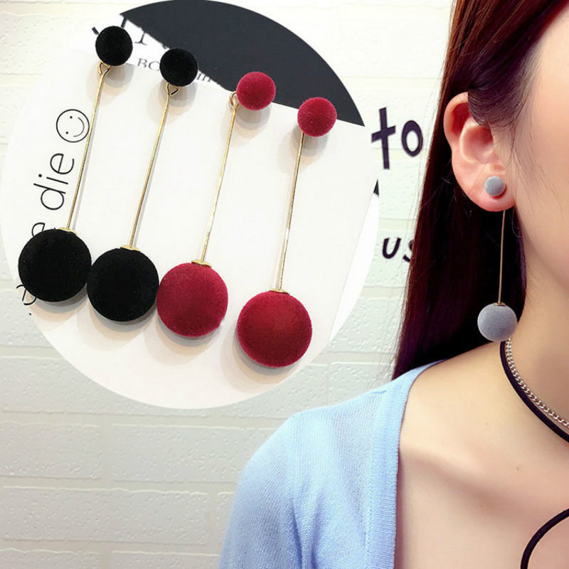 Korean fashion jewelry sweet simple size plush ball long temperament earrings wholesale