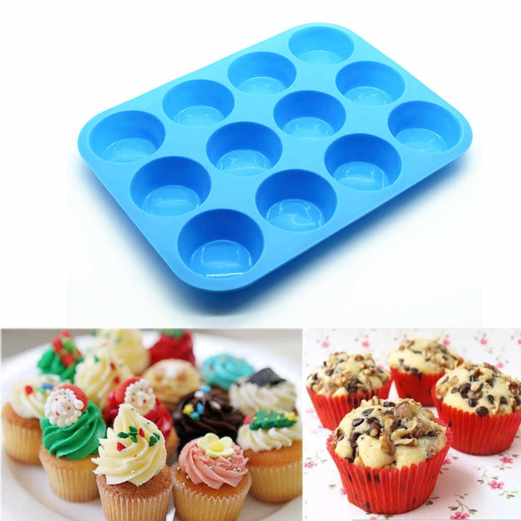 New Cake Tools Fondant Kitchen Bakeware Silicone Metal Non-Stick 12 Cups Cupcake Baking Tray Mousse Cake Mold cozinha