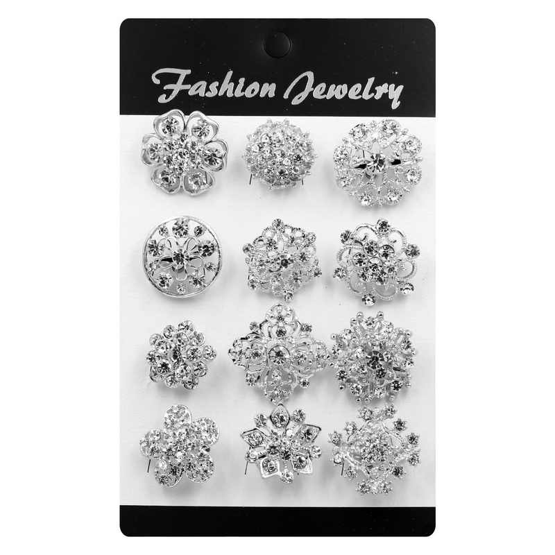 Set of 12 Silver / Gold Color Plated Crystal Rhinestones Small Bejeweled Brooch Pins for Women or DIY Wedding Bouquets