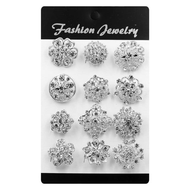 Set di 12 Argento/Oro di Colore Placcato Rhinestones di Cristallo Piccolo Bejeweled Spilla Spilli per Le Donne o FAI DA TE Bouquet Da Sposa