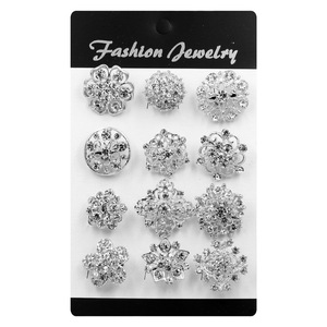 Set of 12 PCS Crystal Rhinestones Small Bejeweled Brooch Pins for Women or DIY Wedding Bouquets