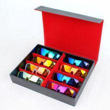 Качество черный дисплей чехол кожаные очки организатор окно семья очки для хранения использование 8 отсеков