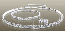 Silver Wedding Diamante Jewelry Sets Clear Rhinestone Choker Bridal Necklace Earrings Sets with Bracelet(China)