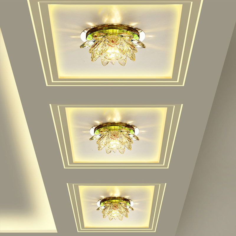 LAIMAIK Crystal LED Ceiling Light 3W AC90 260V Modern LED Crystal Lamp Aisle Light Lamp Hall LAIMAIK Crystal LED Ceiling Light 3W AC90-260V Modern LED Crystal Lamp Aisle Light Lamp Hall Lighting Pumpkin Lotus Lights