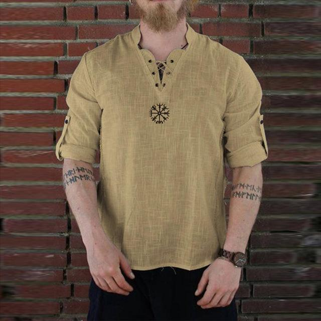 2019 Harajuku Casual Blouse Men's Summer New Style Fashionable Personality Cotton-linen Pure Long sleeved Top Sport Linen Tops