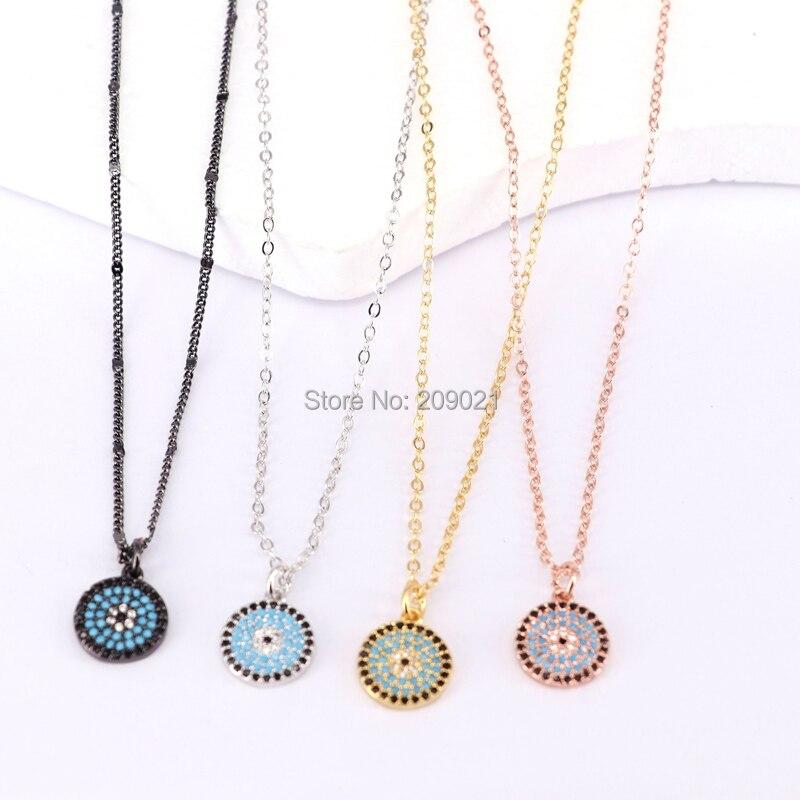 New Style 10Pcs Fashion Metal Chain Necklaces Micro Pave CZ Round Pendants Necklaces for women
