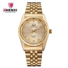 NATATE Hommes Nouvelle Entreprise Horloge Mode Hommes Montre plein or En Acier Inoxydable Bracelet À Quartz Montre CHENXI Montre Étanche 0140
