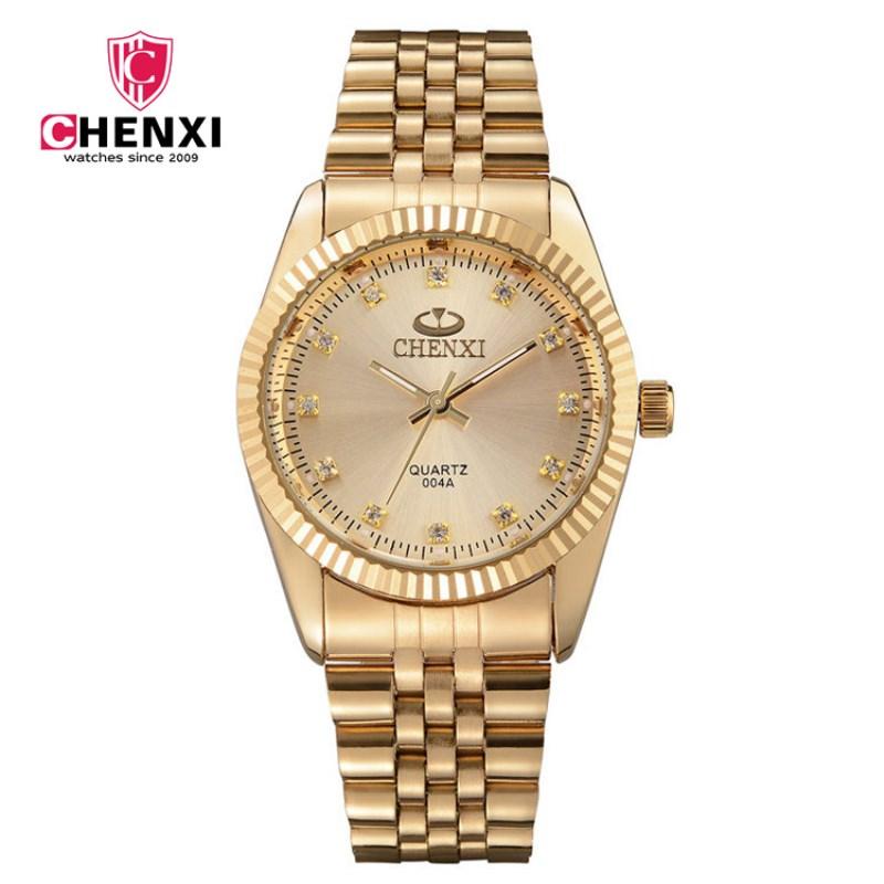 Prix pour Natate hommes nouvelle entreprise horloge mode hommes montre plein or en acier inoxydable bracelet à quartz montre chenxi montre étanche 0140