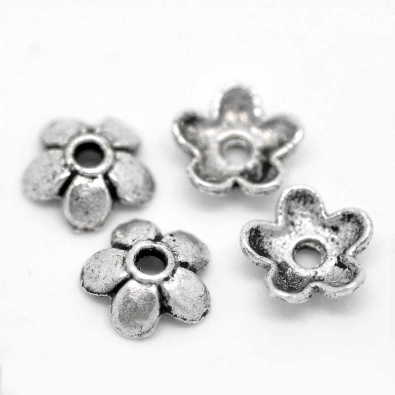 LASPERAL 300PCs Beads Cap Ancient Silver Color Flower Shape Bead End Caps Findings For Women Jewelry Making End Caps 6mmx6mm