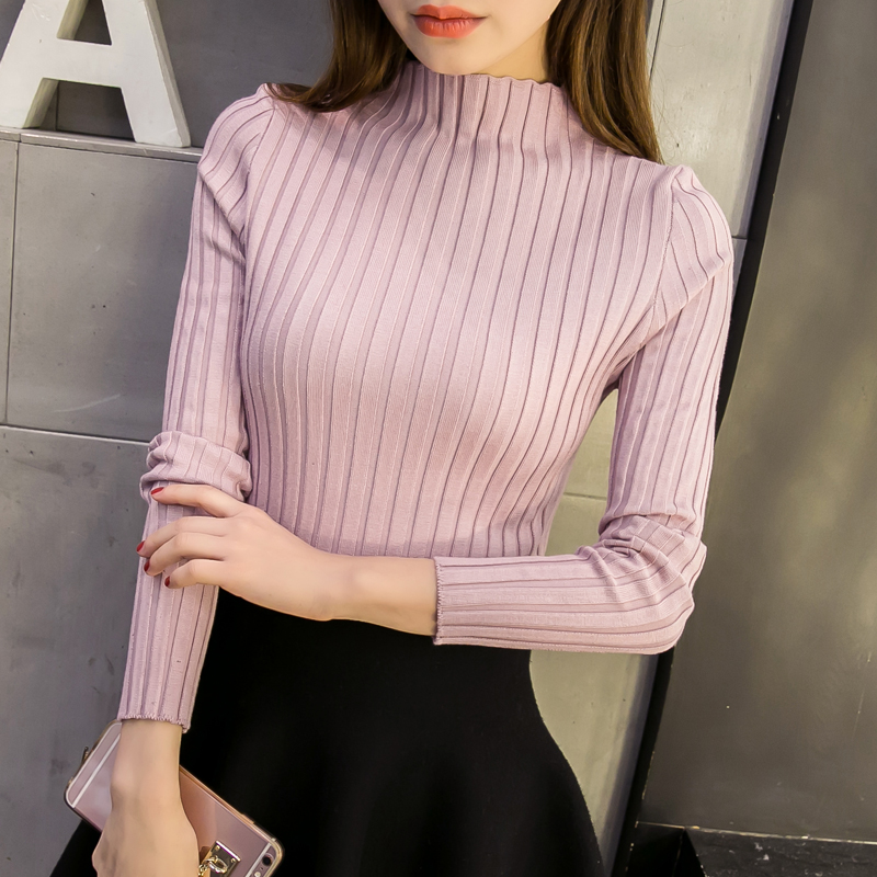2017 new winter half Korean turtleneck sweater female head bottoming Turtleneck Shirt sleeved women slim color