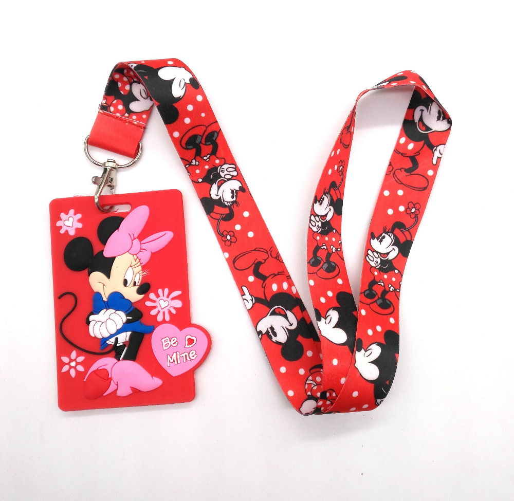 1 Pcs New Arrival Mickey Minnie Soft Silicone Cartoon Minnie Sign Card ID Holder With Hanging String Keychain Accessories  L-22