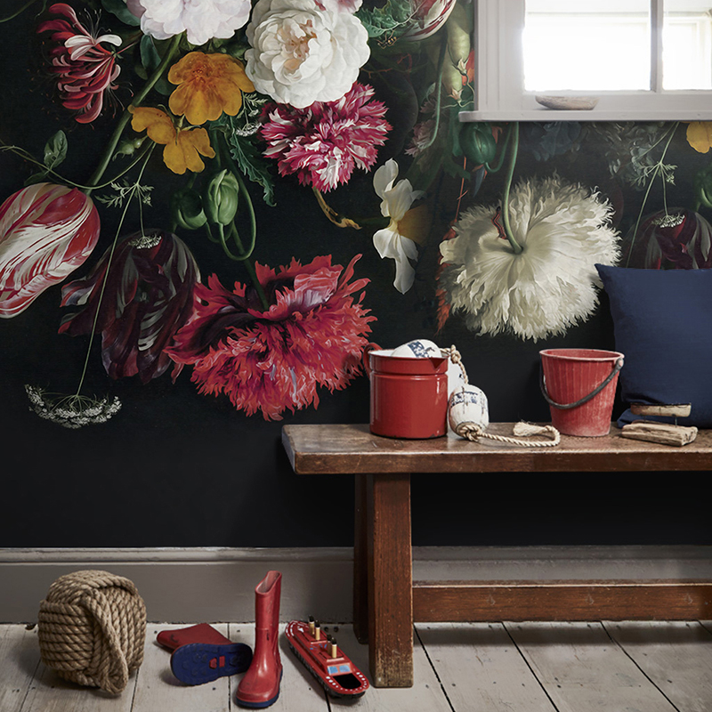 Retro Hand Painted Floral Murals Wallpaper
