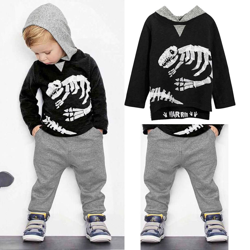 Baby Boys Clothes Toddler Kid Long Sleeve Dinosaur Hooded Sweatshirt Top Long Pant Sportswear Outfit 2Pcs Kids Clothing Sets 0 3t kids clothes toddler boys girls long sleeve top shirt pant trouser 2pcs outfit clothing set