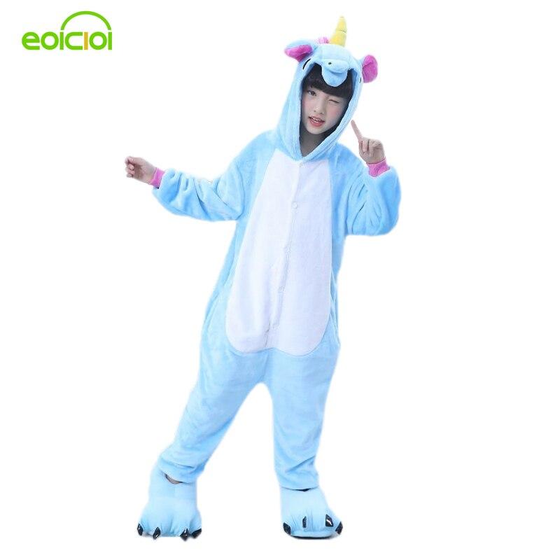 EOICIOI новый фланель с капюшоном животных Pegasus пижамы зимние детские пижамы для мальчиков и девочек милый мультфильм Косплэй Комбинезоны детс...