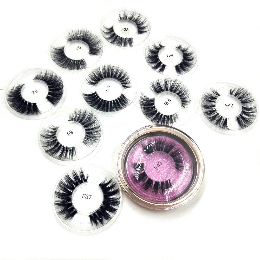 1pair Handmade high quality 3D mink hair stage nightclub style wholesale customized logo luxury private collection 10 styles in False Eyelashes from Beauty Health