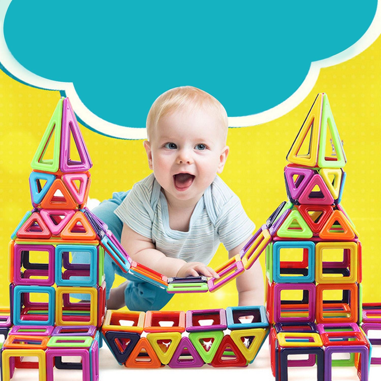 76pcs Mini Magnetic Designer Construction Blocks Magnet Stacking Blocks Building Plastic Model Jigsaw Educational Toys For Kids