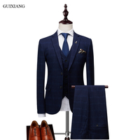 2018 New Arrival Style Men Boutique Leisure Suits High Quality Business Casual Grid Slim Three piece Male Suit Blazer Coat M 3XL