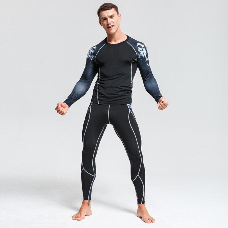 men's clothing piece compression tights t-shirts long-sleeve shirt mens tracksuit set Fitness Men's leggings mma rash guard kit