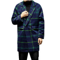 Wool Winter Jacket Men Plaid Harujuku Long Vintage Trench Coat Men Korean England Style Erkek Mont Kaban Long Male Windbreaker