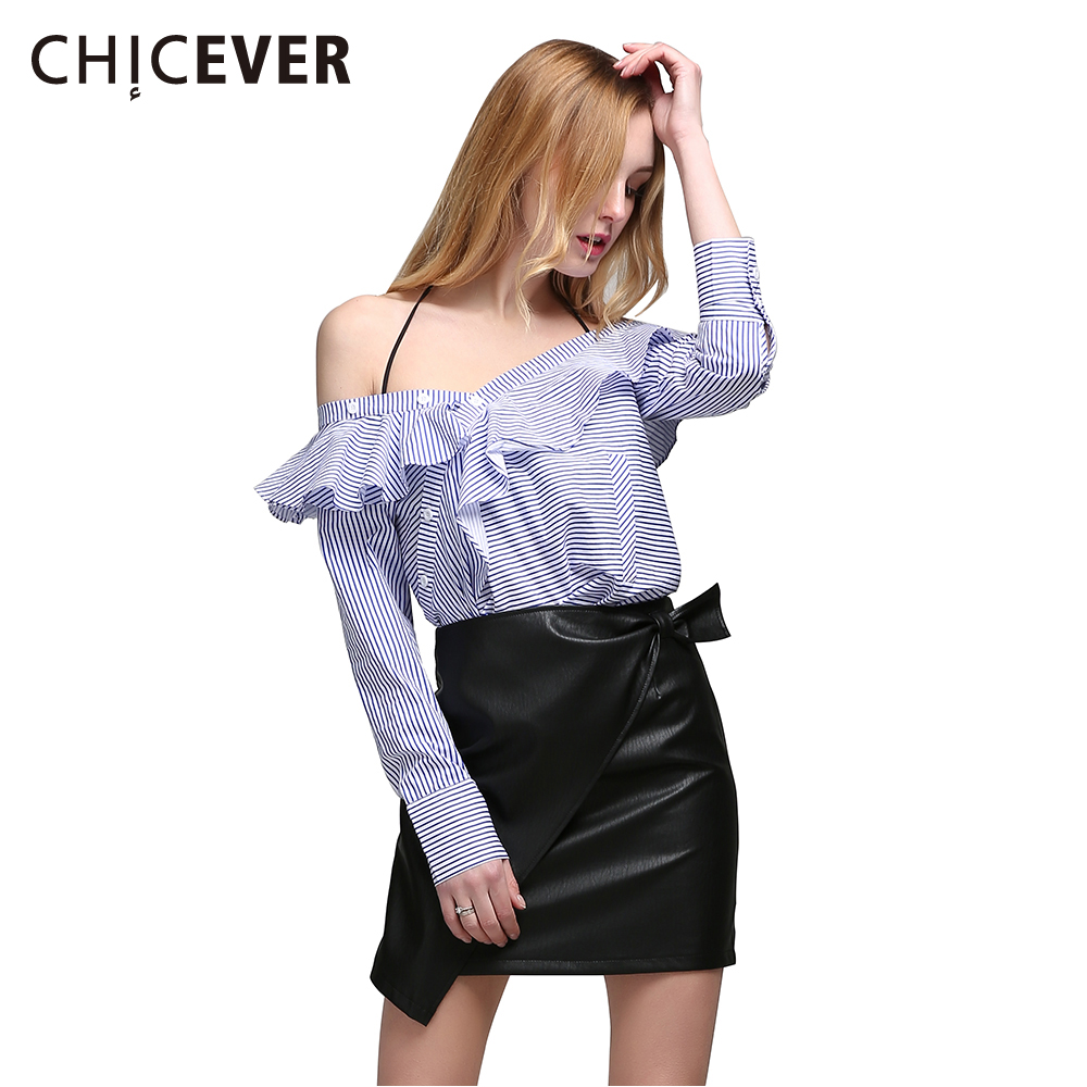 CHICEVER Ruffle Striped Top Female Sexy Off Shoulder Long Sleeve Womens Shirt Tops Casual Clothes Korean Large Big Sizes Autumn