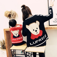Autumn Winter Mother and Daughter Jacket Clothes Mom Son Outfits Mama Bear Baby Bear Shirt Sweaters Women Kids Cardigan Sets