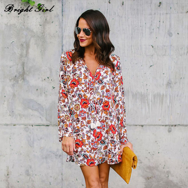 BRIGHT GIRL Floral Print Chiffon Blouse for Women Long Sleeve V-Neck Sexy Shirt Causal Tops Ladies Loose Blouse Femme Clothes