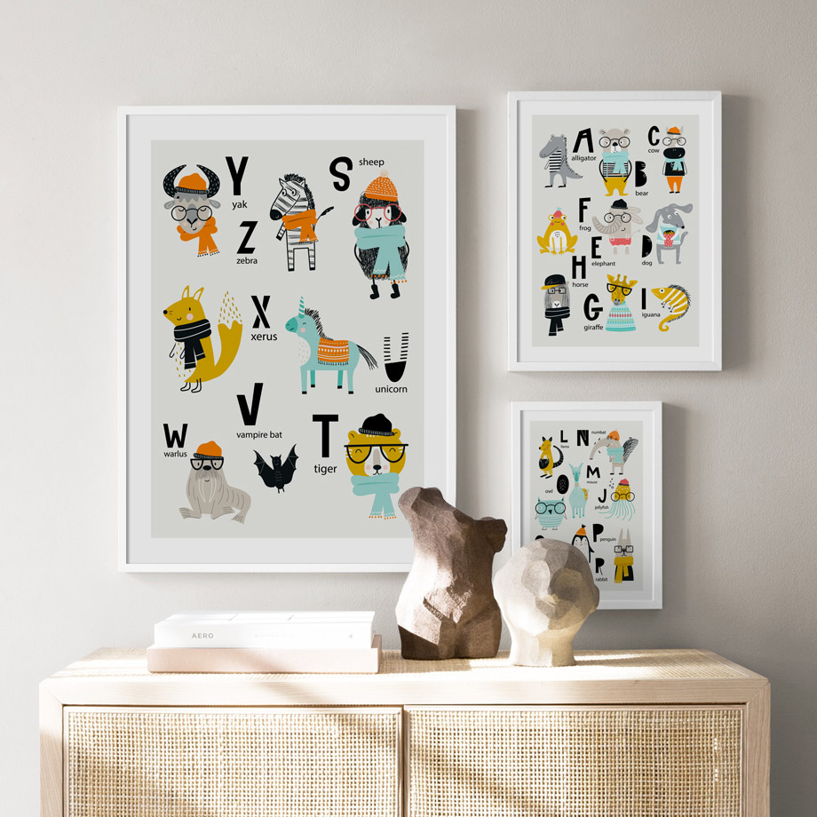 Alphabet Cow Llama Zebra Giraffe Rabbit Nordic Posters And Prints Wall Art Canvas Painting Nursery Wall Pictures Kids Room Decor in Painting Calligraphy from Home Garden