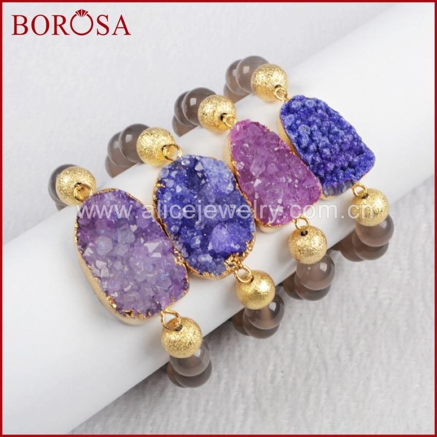 ᗔBOROSA handgefertigten perlen Natürlichen Kristall Druzy armbänder ...