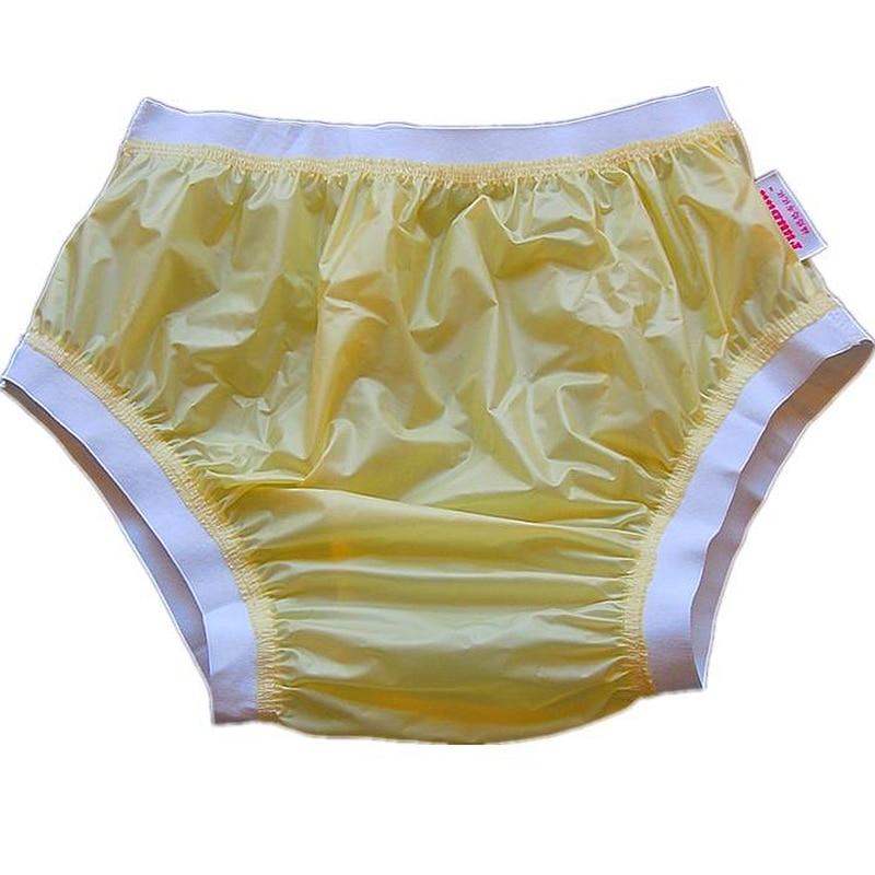 Free Shipping FUUBUU2207-Yellow-L-1PCS Wide Elastic Pants Adult Diapers Non Disposable Diaper Plastic Diaper Pants Pvc Shorts