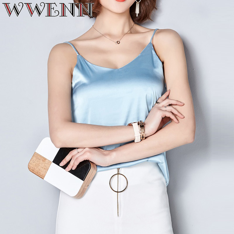 WWENN Harness Silk   Blouse     Shirt   Women Tops 2019 High Quality Spring Summer Casual 7 Colors   Shirt   Sleeveless   Blouse   Women Blusas