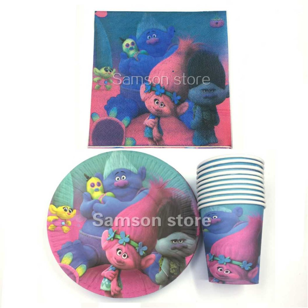 60pcs Trolls theme paper 20pcs plate+20pcs napkins +20pcs cups for 20 people Children  birthday party