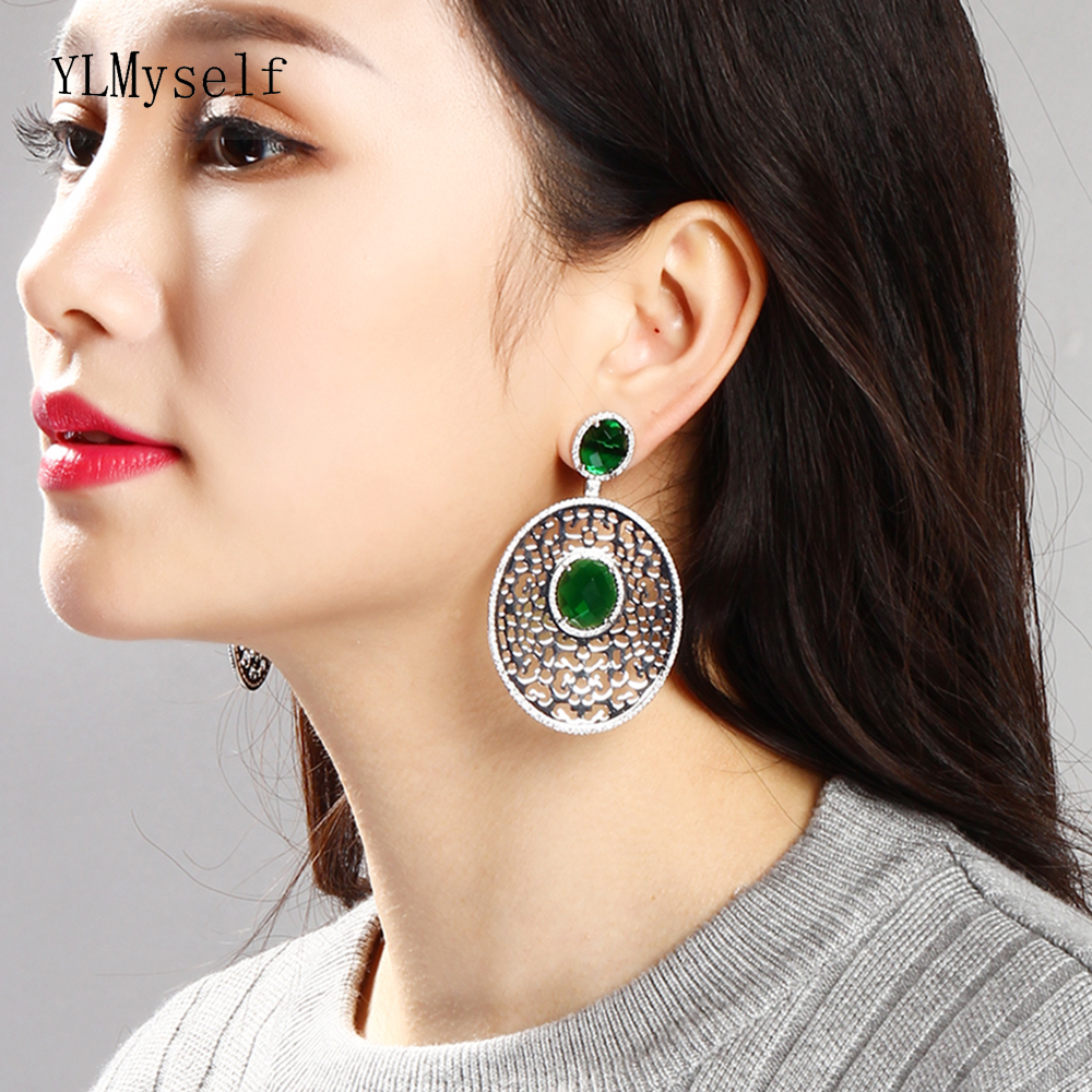 68 Mm Long Luxury Oval Dangle Earring Green / White Crystal Stones Expensive Jewellery Hyperbole Big Drop Earrings For Party